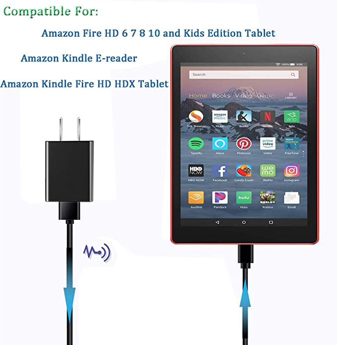 Fast High Power AC Adapter Wall Charger 4 Amazon Kindle Fire HD 6 7 HDX 8.9 Kids