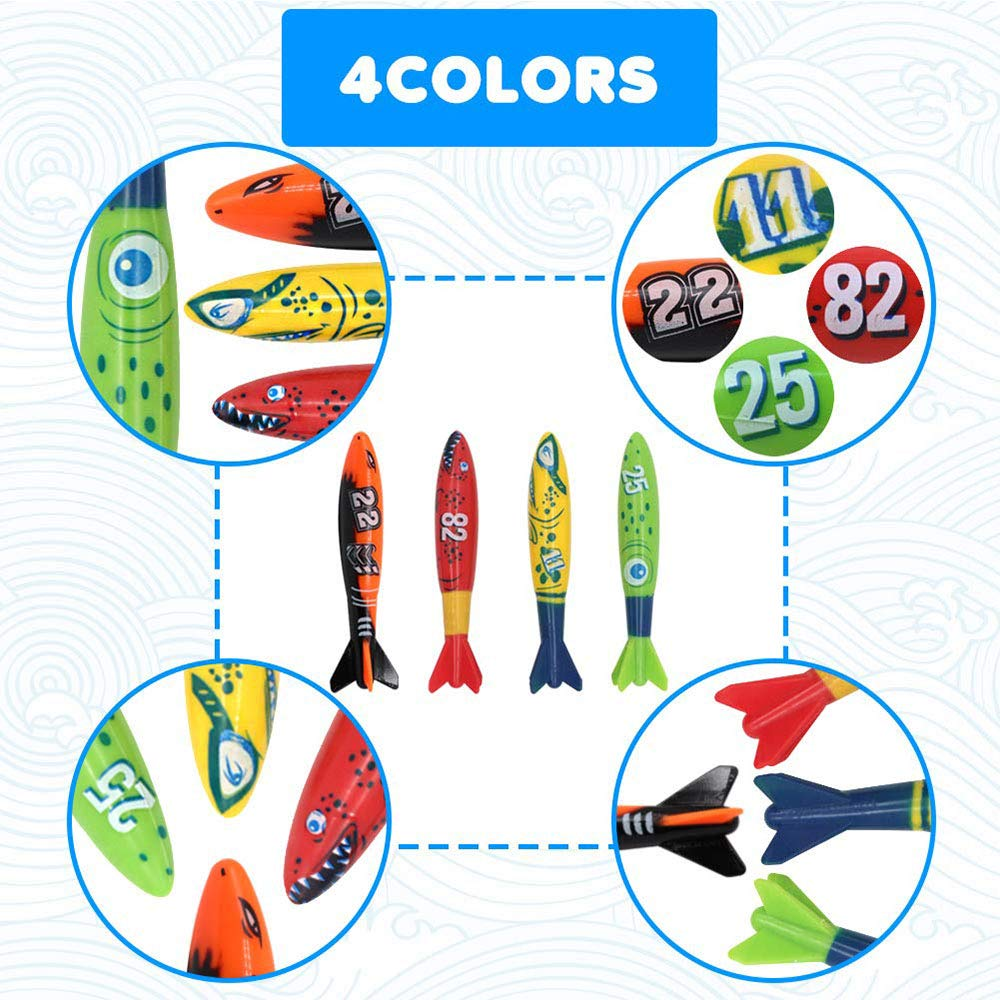 with Under Water Treasures Gift Set Bundle for Ages 3 and Up Kids 5Pcs Toy Rings 4Pcs 3Pcs DegGod 23 Pcs Underwater Swimming//Diving Pool Toys and Torpedo Bandits Diving Sticks Diving Fish 4Pcs
