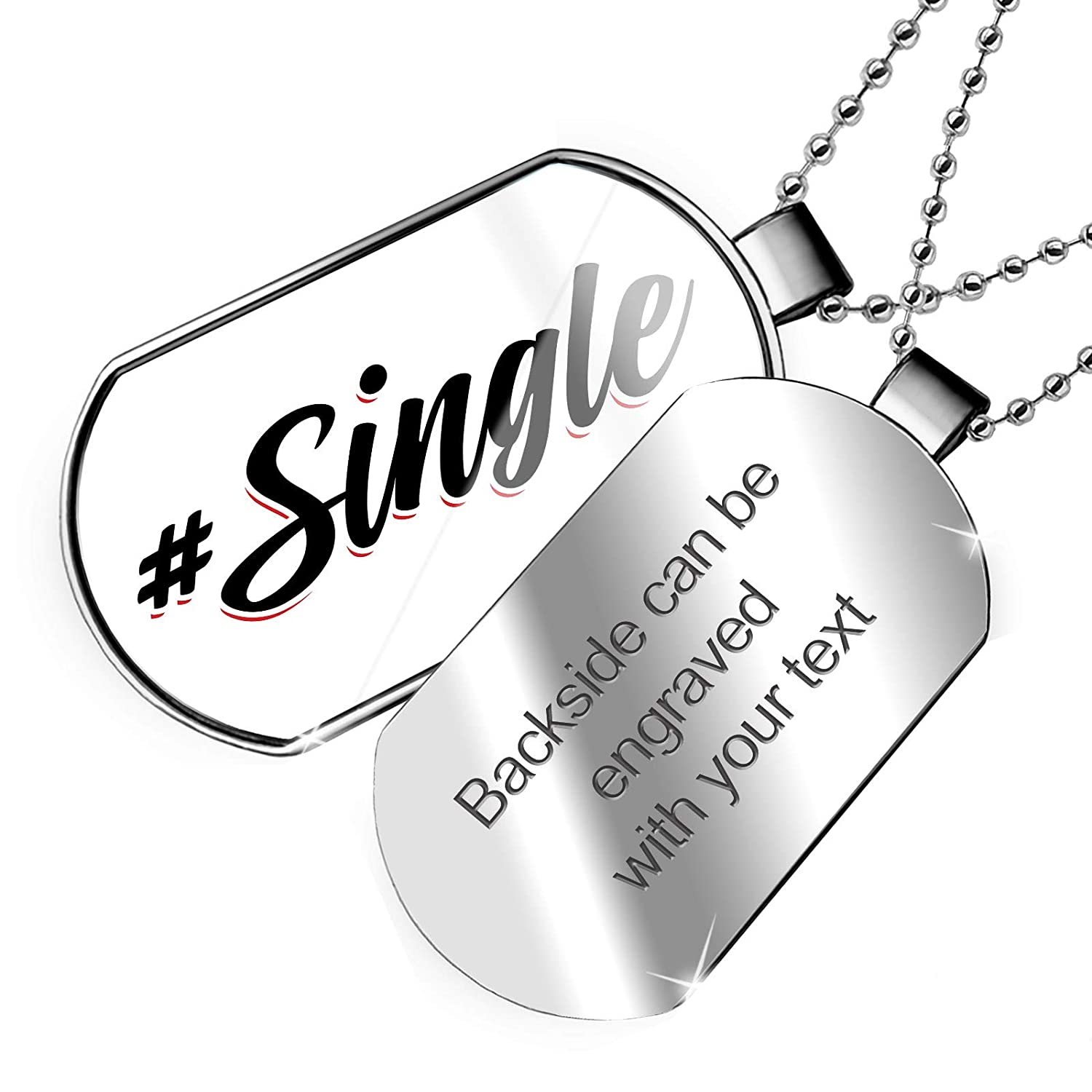NEONBLOND Personalized Name Engraved Vintage Lettering #Single Dogtag Necklace