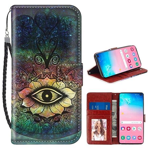 Amazoncom Linghan Samsung Galaxy S10 Lotus Flower Eye Wallet Case