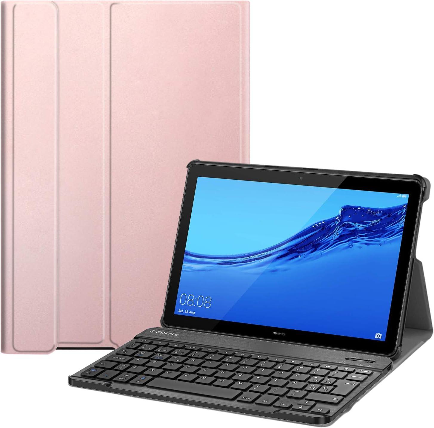Fintie Funda con Teclado Español Ñ para Huawei Mediapad T5 10 - Carcasa SlimShell con Soporte y Teclado Español Bluetooth Inalámbrico Magnético Desmontable, Oro Rosa