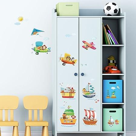 Stickers muraux Stickers Mur Tatouages transferts Vinyle Mur Nursery Decowall dmt-1506/  Les navires et Animaux Stickers Muraux