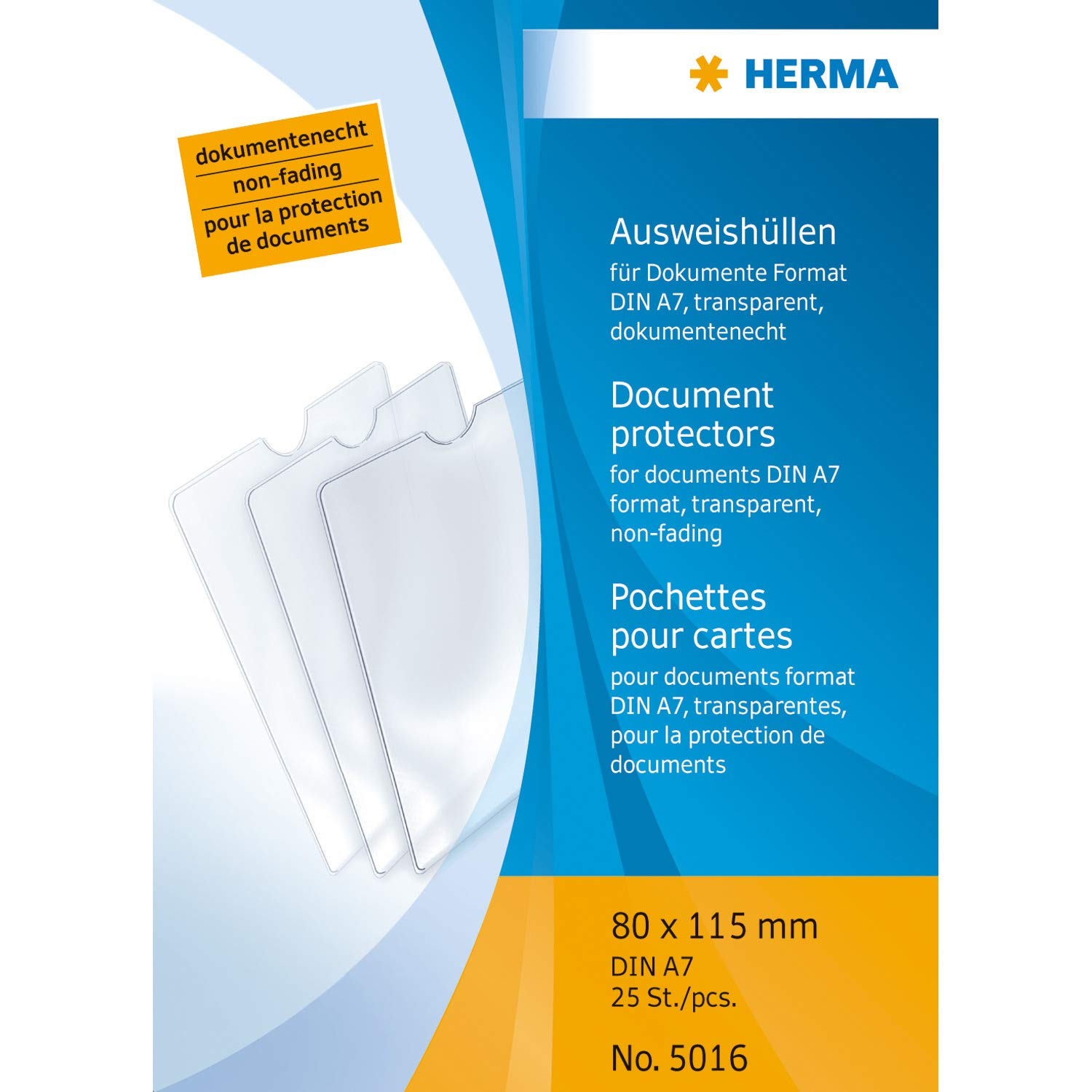 HERMA 5016 Protective ID Card Holder 80 x 115 mm Transparent Suitable for DIN A7 Documents Pack of 25 by HERMA