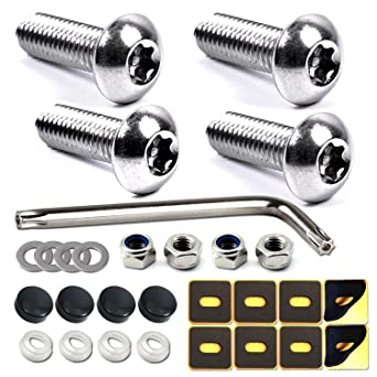 Nylon Screw Inserts and Special Design Rustproof Stainless Steel Screws Gbrand Anti-Theft License Plate Screws Kit Universal License Plate Screws Tamper Proof Security Bolts Set
