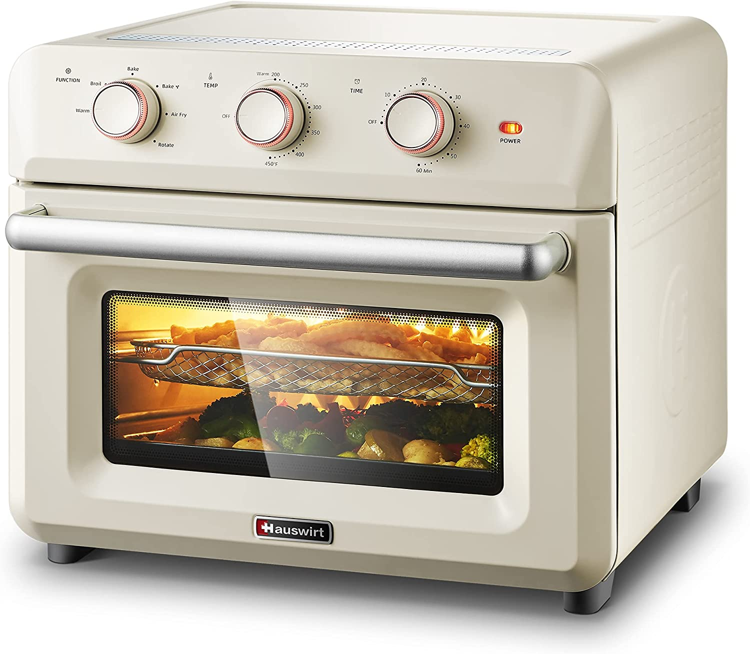 """Hauswirt 6-IN-1 Air Fryer Oven, 26Qt XL Capacity, Convection Cooking To Toast, Air Fry, Bake, Broil, Grill, Roast Chicken, Reheat 12"""" Pizza, Keep Warm For Large Family - Retro Cream White"""