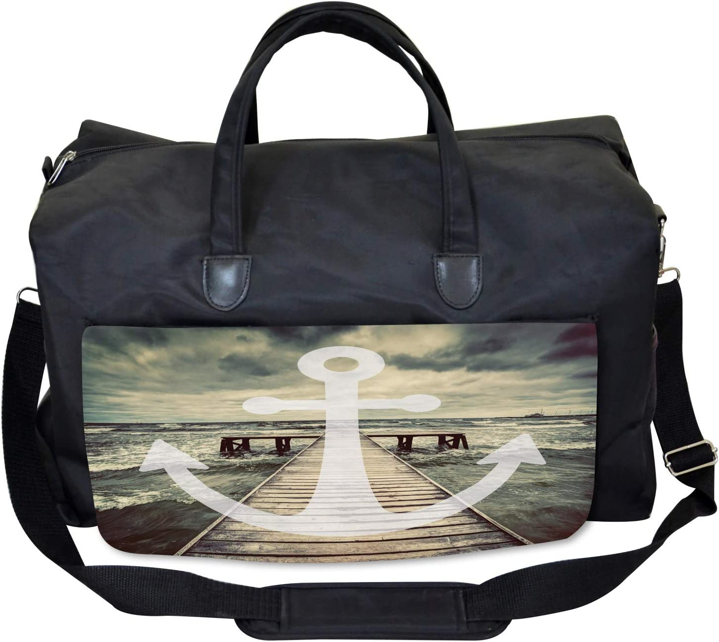 Ambesonne Nautical Gym Bag Anchor Ocean Waves Large Weekender Carry-on
