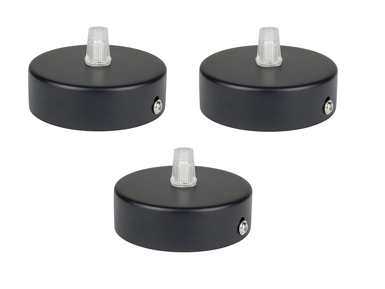 Florón negro, embellecedor para lámpara de techo, suspensor estándar tamaño m10, 80x25 mm, embellecedor para lámpara de techo, incl. pasacables/prisionero ...