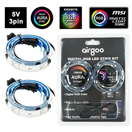 Magnetic Digital RGB LED Strip, Airgoo Addressable PC LED Strip Light for  5V 3-Pin addressable LED headers, Compatible with ASUS Aura SYNC, Gigabyte