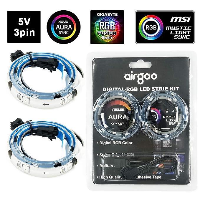 Amazon.com: Kit de tiras de LED para ordenador, luz LED ...