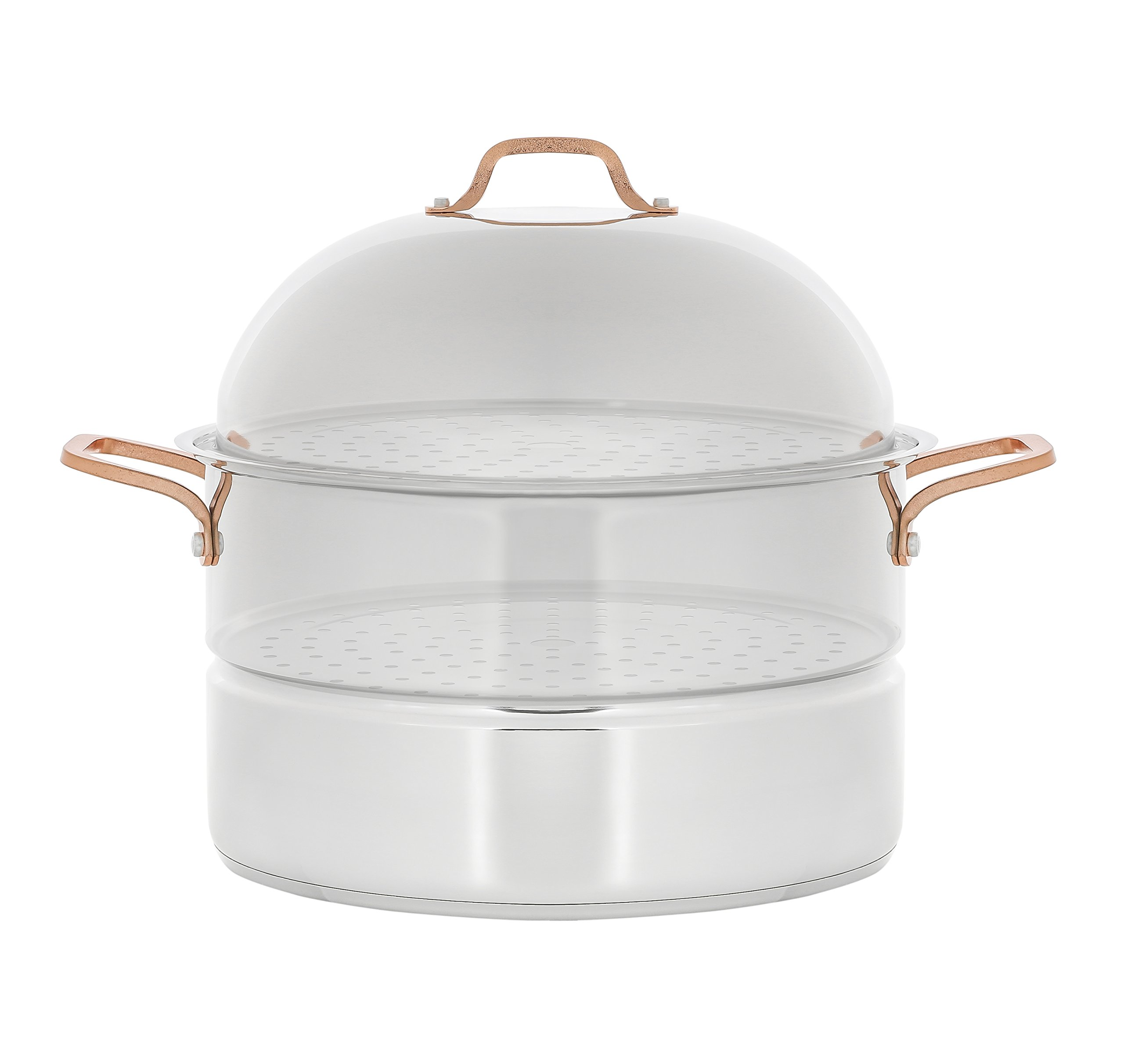 CONCORD 18 Quart Premium Stainless Steel 3 Tier Steamer w/Rose Gold Handles 34 CM (Extra Large) (V.2 2019 New Model) by Concord Cookware (Image #3)