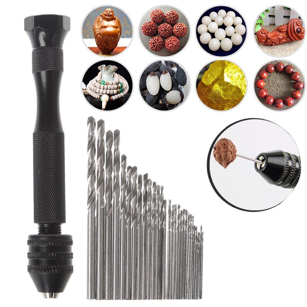 JENOR Aluminum Mini Micro Hand Drill Keyless Chuck with 30pcs Twist Drills Bits Rotary