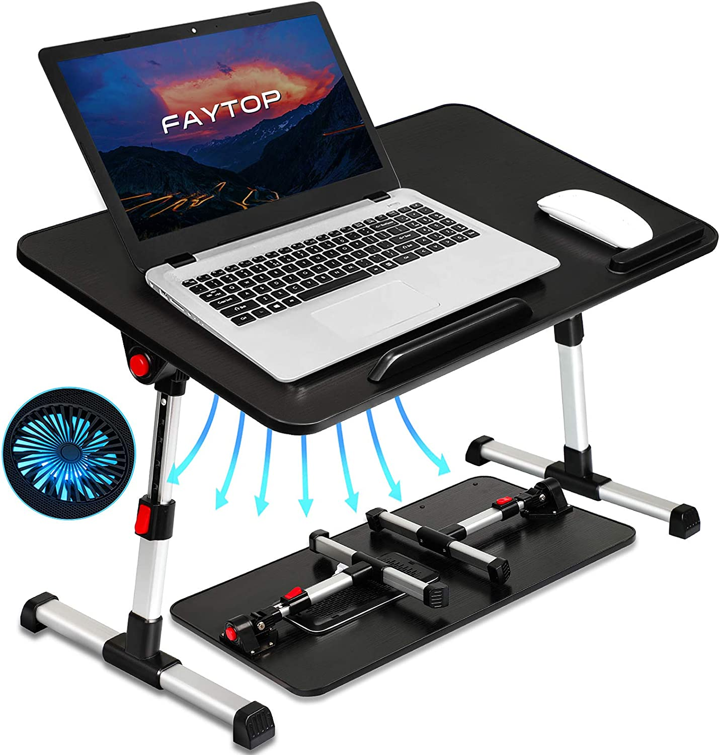 Adjustable Laptop Bed Table, Portable Standing Laptop Desk with USB Fan, Foldable Laptop Table for Working/Reading/Eating on Sofa Floor(Large/Black)