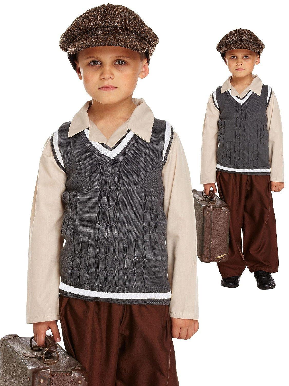 c450bc5758d9 BOY GIRL CHILDRENS WW2 EVACUEE 1940S ORPHAN FANCY DRESS COSTUME BOOK WEEK  4-12  Amazon.co.uk  Clothing