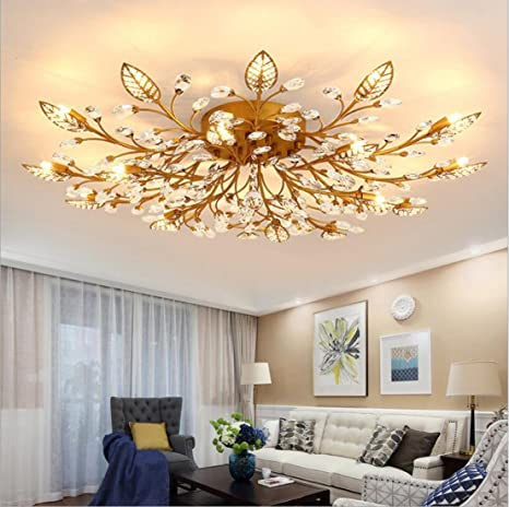 Perfect Diy FamilyModern Crystal LED Ceiling Lamp,Leaf Flush Mount Ceiling Light  Fixture Decorative Crystal Chandelier