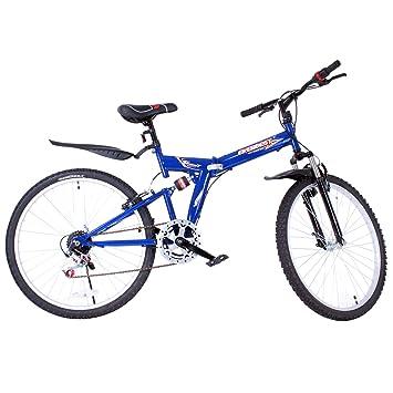 Bicicleta de montaña SucceBuy plegable de 66 cm, de acero, doble suspensió