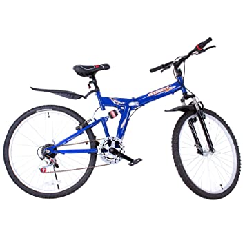 Bicicleta de montaña SucceBuy plegable de 66 cm, de acero, doble suspensi&oacute