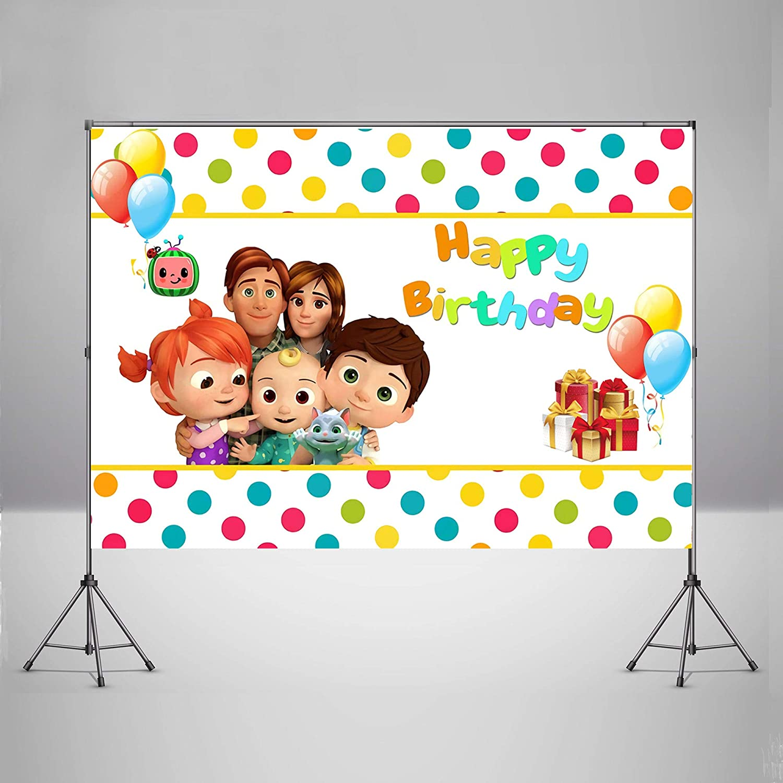 Cocomelon Birthday Theme Backdrops Children Kids Birthday Party ...