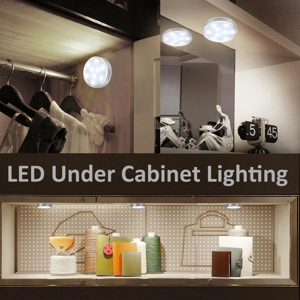 le led under cabinet lighting kit 510lm puck lights under counter lighting 6000k daylight white all accessories included kitchen lighting closet light cabinet lighting puck light