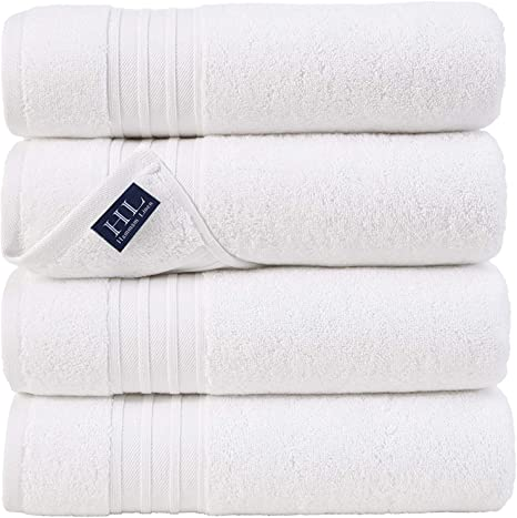 Hammam Linen 100 Cotton 27x54 4 Piece Set Bath Towels White Super Soft Fluffy And Absorbent Premium Quality Perfect For Daily Use 100 Cotton Towels Kitchen Dining
