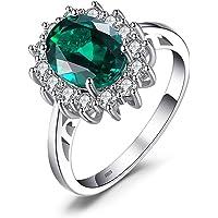 JewelryPalace Anillos Mujer Plata Princesa Diana Kate Middleton Creado Zafiro Esmeralda, Anillos de Compromiso Plata de…