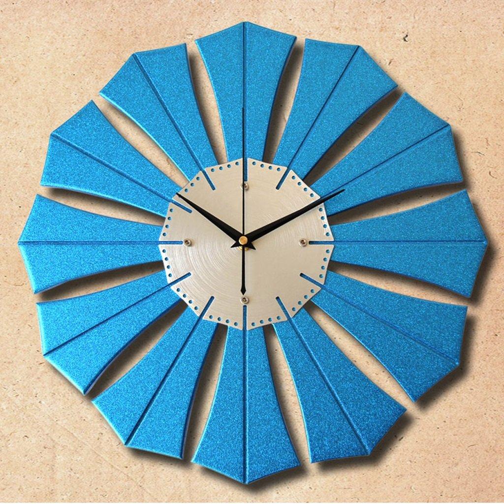 LINGZHIGAN ウォールクロック16インチアートミュートウォールクロックファッションリビングルームベッドルームクロッククォーツシンプルなクリエイティブウォールテーブル ( 色 : 青 ) B07BTMM964 青 青