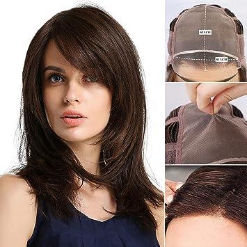 Amazon.com: Peluca de pelo de monofilamento con encaje ...