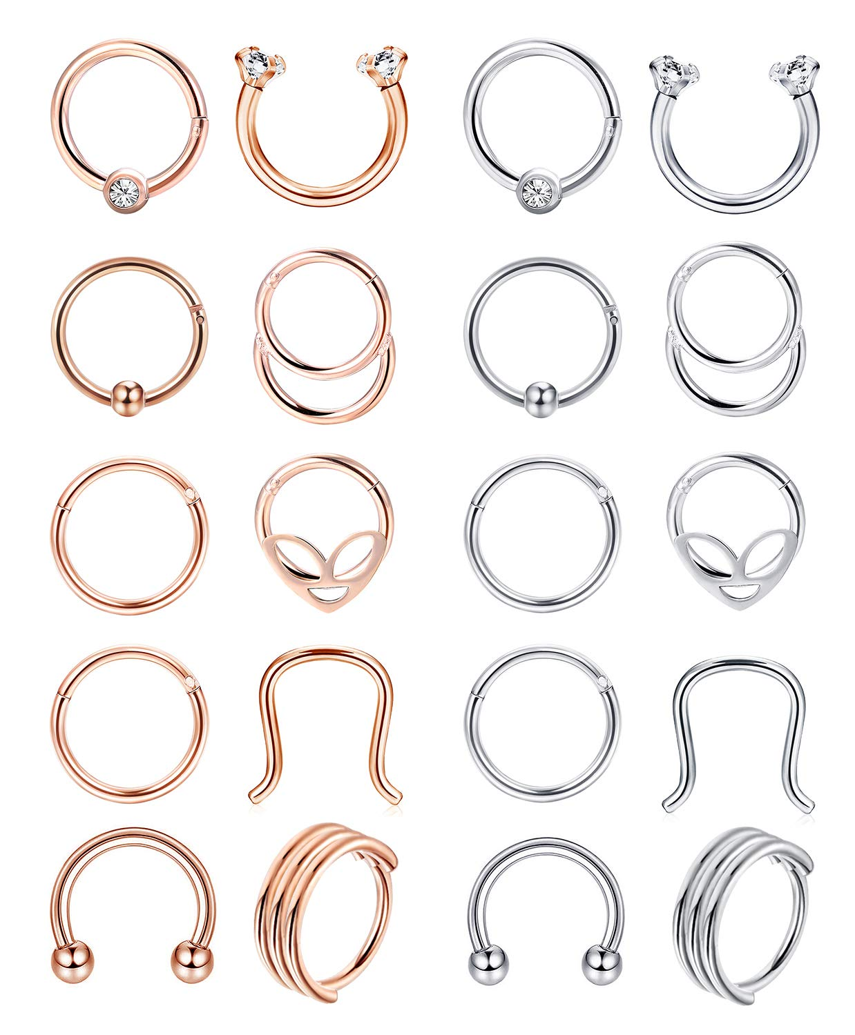 ORAZIO 20pcs Nose Septum Ring Hoop 16G Hinged Segment Ring Mixed Styles 316L Stainless Steel Septum Clicker for Body Piercing by ORAZIO