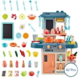42 Pcs Kids Kitchen Playsets with Lights and Sounds Pretend Play Fun Tableware Toys for Boys Girls