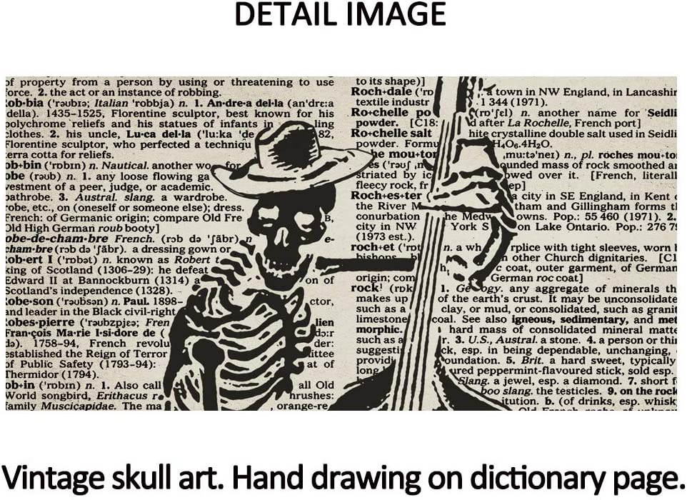 SUMGAR Halloween Decor Vintage Dictionary Page Papers Posters Pumpkin Lantern Witch on Broom Bat Night Flight Spooky Art Prints Set of 3-8x10s
