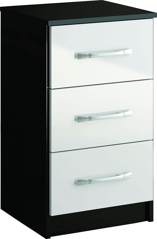 Birlea - Lynx Comodino con 3 cassetti, colore: Bianco Birlea Furniture Ltd LYNBSWHT