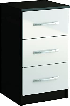 Birlea Lynx 3 Drawer Bedside Table High Gloss Black And White