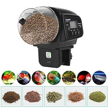 YAOBLUESEA Alimentador Automático de Peces, Dispensador Automático de Alimento para Peces, con Mini Pantalla, para acuarios y Tanques: Amazon.es: Jardín