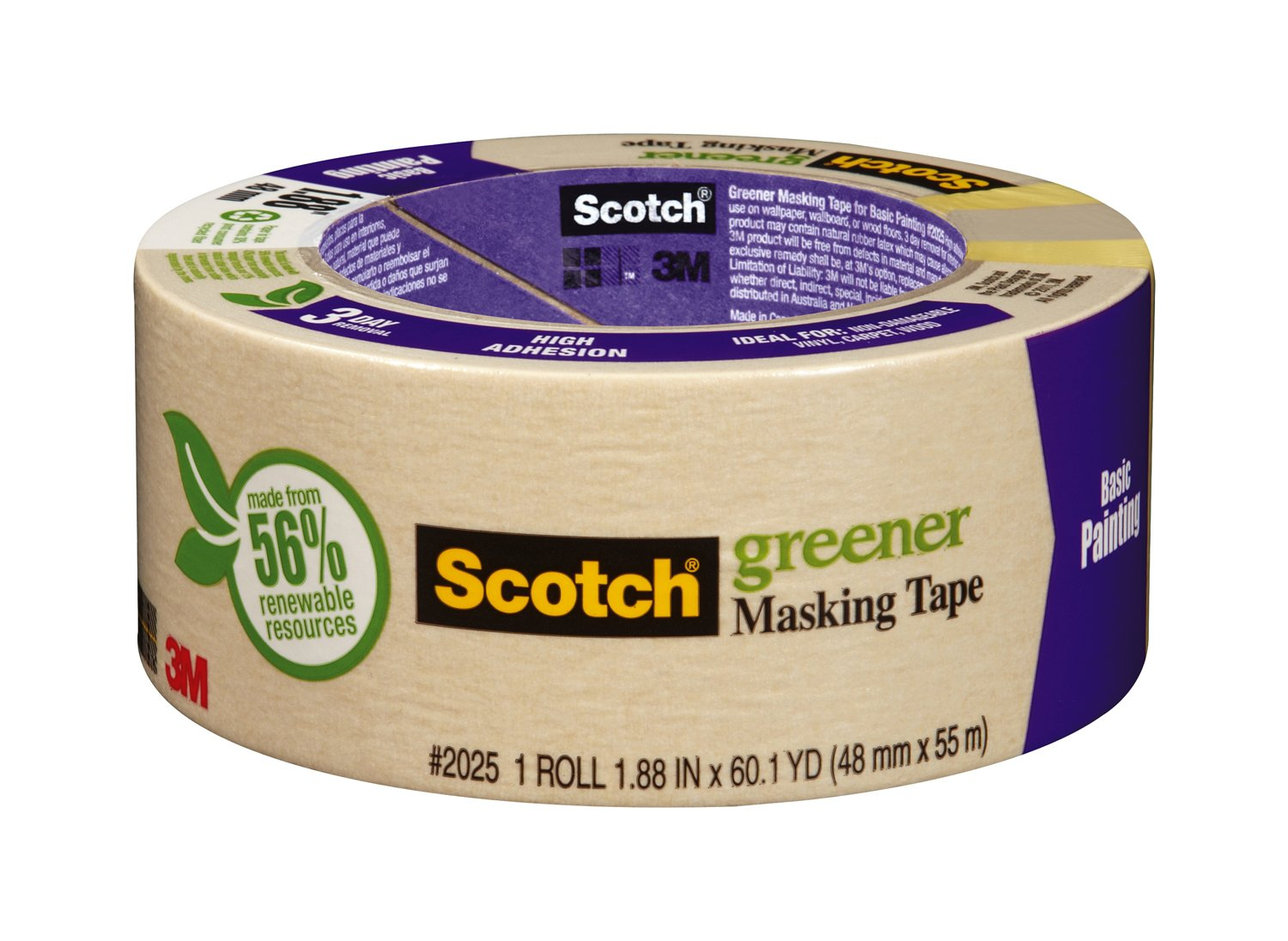 Scotch Masking Tape for Basic Painting, 1.88-Inch by 60.1-Yard