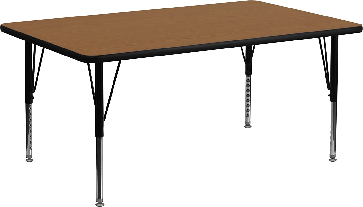 MFO 30W x 72L Rectangular Activity Table with Oak Thermal Fused Laminate Top and Standard Height Adjustable Legs