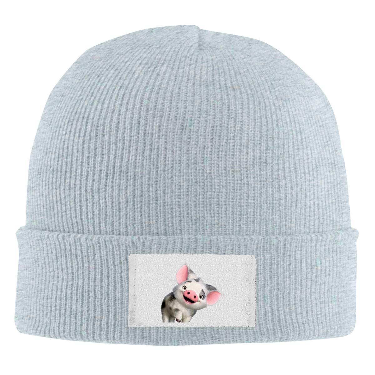 Skull Caps Richard Moana Pua The Pot Bellied Pig Logo Winter Warm Knit Hats Stretchy Cuff Beanie Hat Black