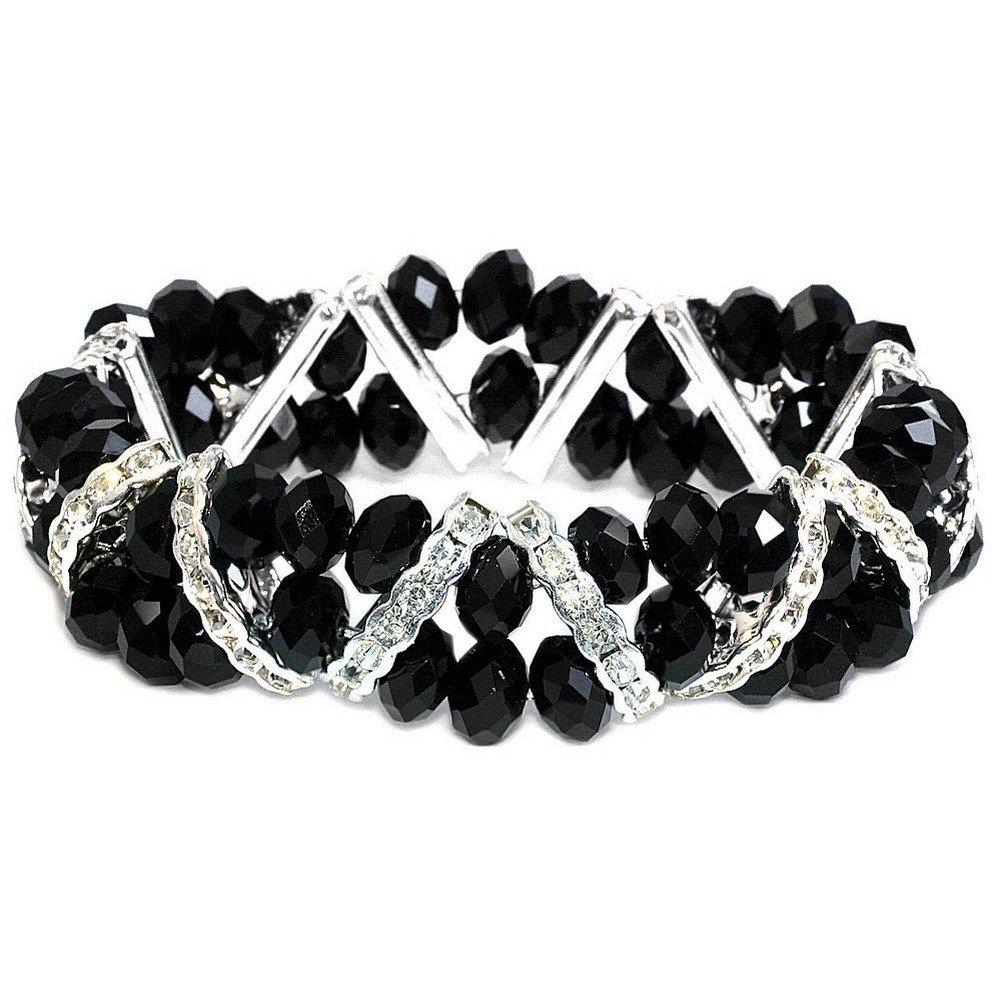 Joe Cool Bracelet V-line Facet Black Silver Made with Crystal Glass /& Zinc Alloy