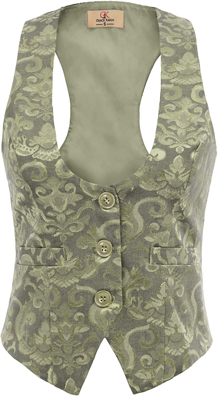Women Vintage Party Waistcoat Jacquard Slim Fit Button Down Cosplay Vest Jacket Light Green XXL