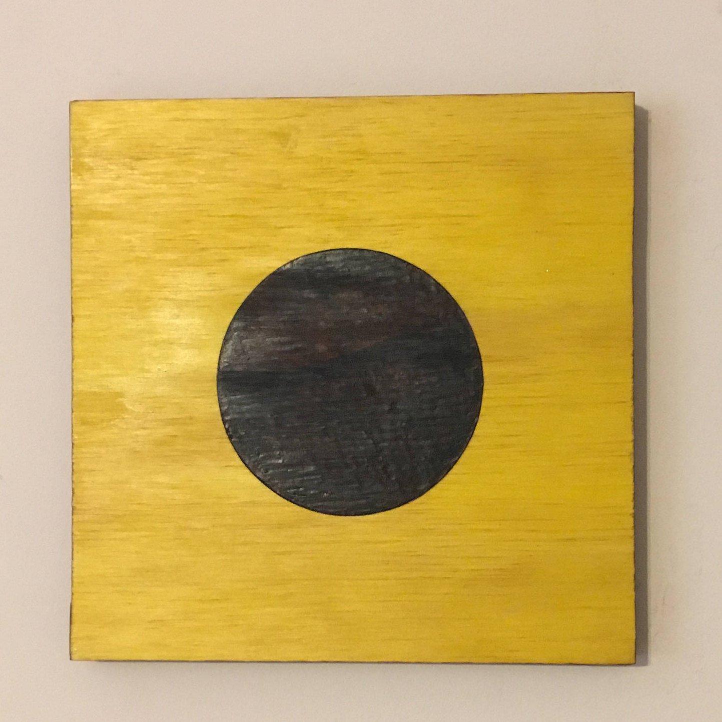 Nautical Signal Flag ''India'', Yellow Flag Black Dot, Nautical Flag, Signal Flag, Wood wall hanging, Pyrography Flag, Woodburning Flag