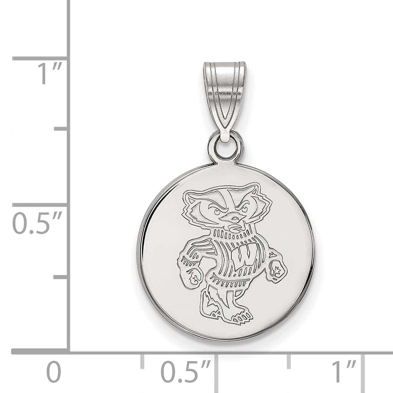 925 Sterling Silver Rhodium-plated Laser-cut University of Wisconsin Medium Disc Pendant