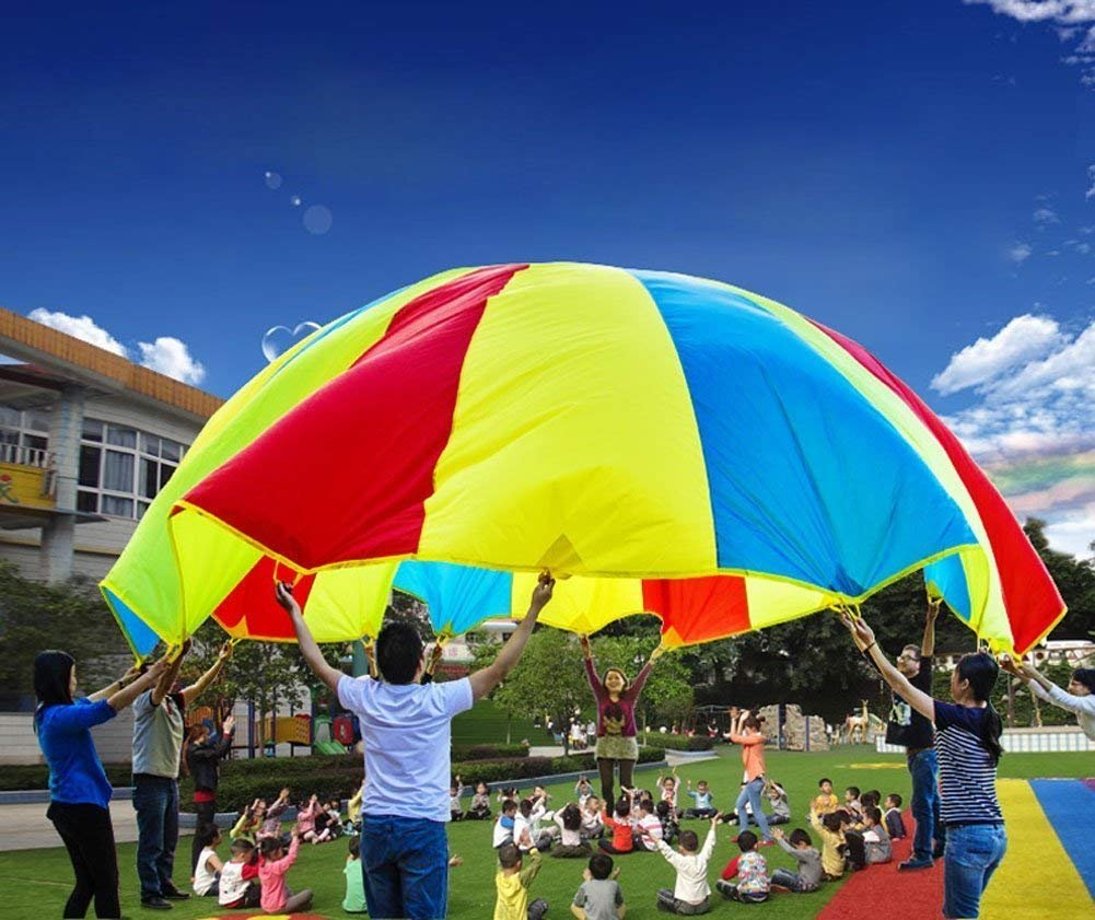 Snowcc Parachute 12 Foot for Kids with 10 Handles Play Parachute for Kids Tent Cooperative Games Birthday Gift