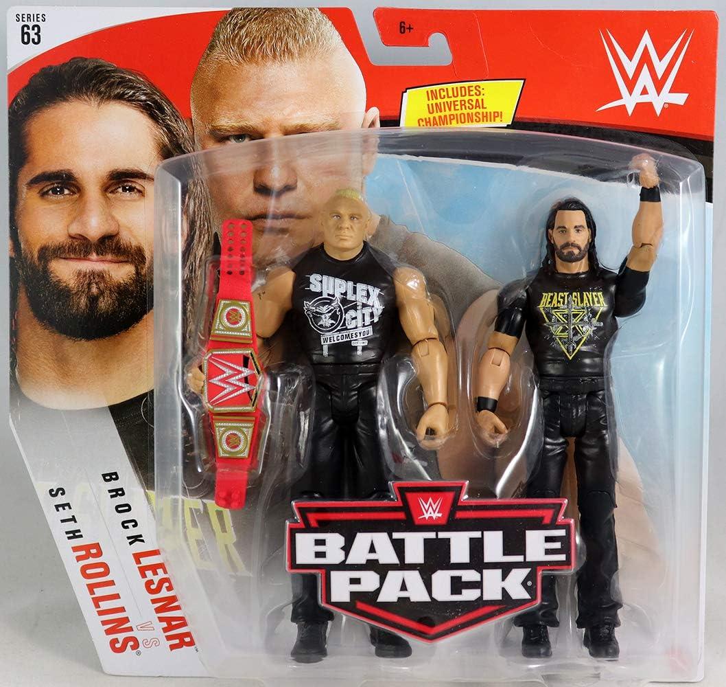 Seth Rollins & Brock Lesnar – WWE Battle Packs 63 Mattel Toy Wrestling Figura de acción de lucha libre, paquete de 2: Amazon.es: Juguetes y juegos