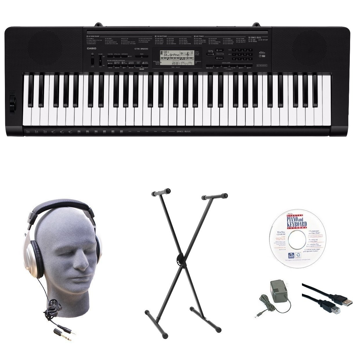 Casio CTK-3500 EPA 61-Key Premium Keyboard Pack with Stand, Headphones, Power Supply, USB Cable & eMedia Instructional Software by Casio