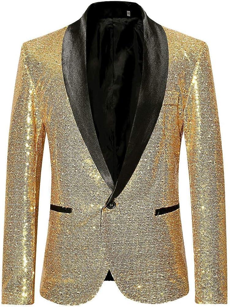 Mens Sequin Dress Suit Jacket One Button Blazer Party Dinner Sport Coat