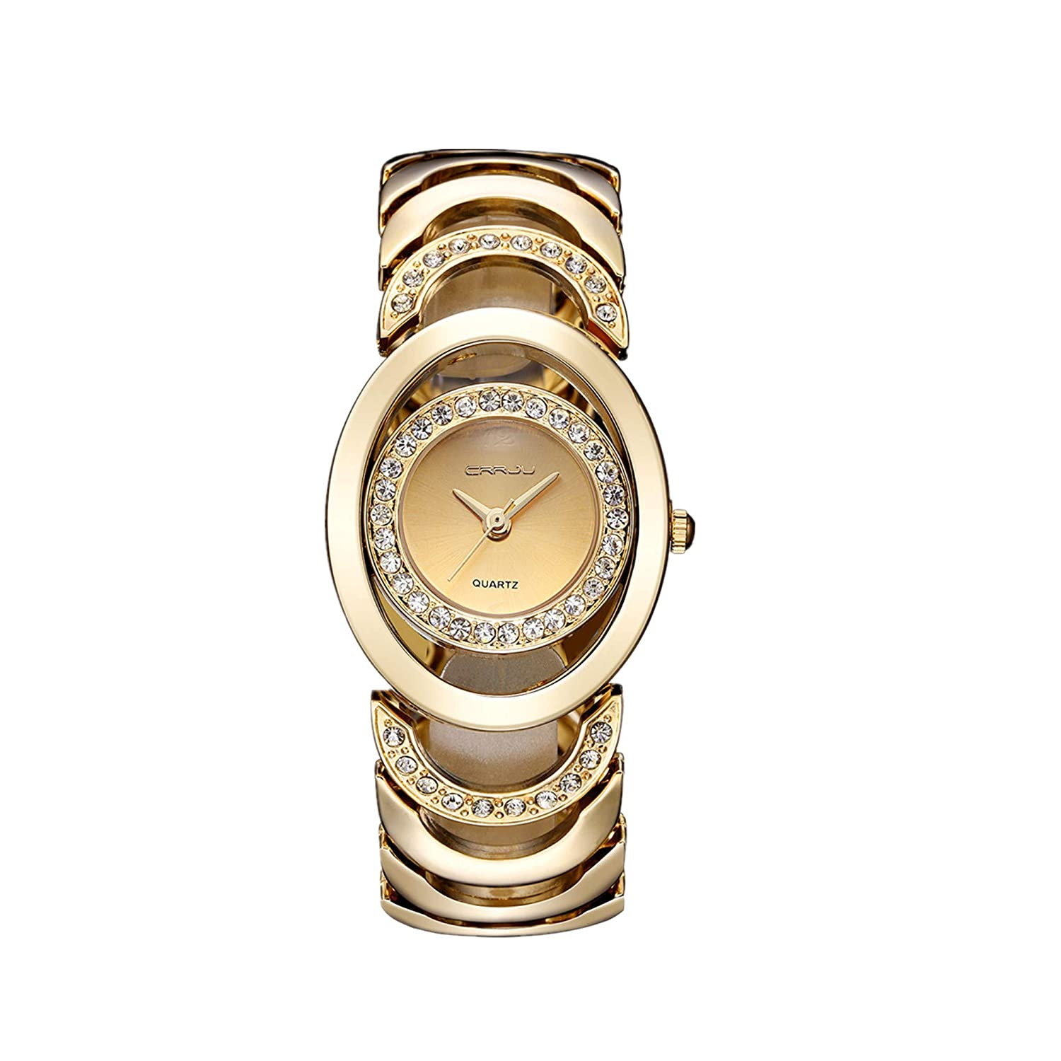 921a0eaef Amazon.com: Women's Watch,Fashion Elegant Luxury Beautiful Lady Watches  Crystal Diamond Dial Thin Quartz Watch Gold with Stainless Steel Band:  Watches