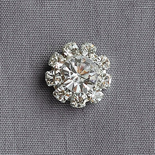 20 Rhinestone Buttons Round Diamante Crystal for Hair Flower Clip Wedding Invitation Scrapbooking Ring Pillow Napkin Ring BT053