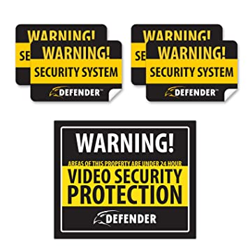 Defender sp102 sgn indoor video security system warning sign with 4 window warning stickers