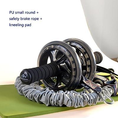 Roue d'exercice de rouleau d'Ab de double avec la garniture molle de genou et la corde de frein de sécurité, équipement portatif d'entraînement abdominal avec des poignées molles de mousse -