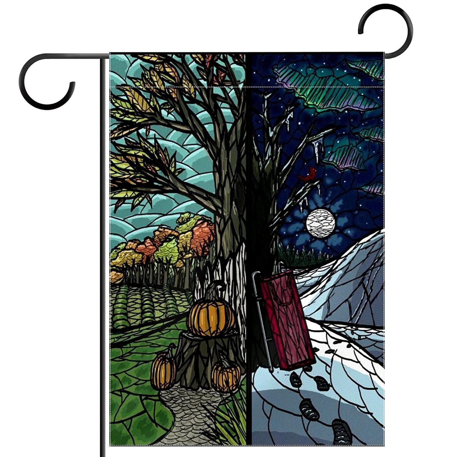 Garden Flag Four Seasons Landscape 12×18 Inch Double Sided Design Decorative Yard Banner Garden Flag Holiday Flag for Party Home Outdoor Decoration