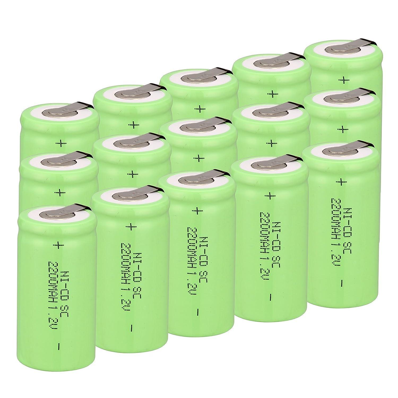 Odstore 1.2V 2200mAh Ni-Cd Tap Sub C SC Rechargeable Battery Batteries 10pcs Green
