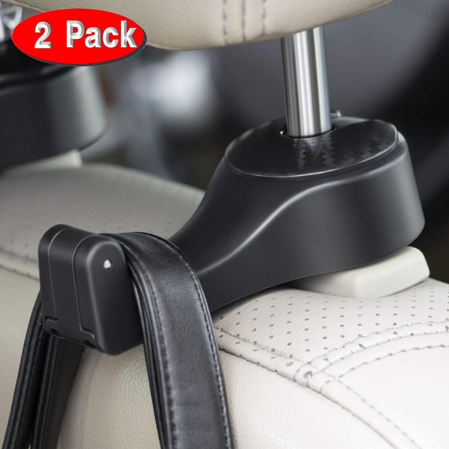 Pack of 2 Donia Leather Car Hooks for Purses and Bags Car Vehicle Back Seat Headrest Hanger Holder Hook Microfiber Leather /& Stainless Steel